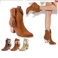 New designer boots women 2014 Plus Size34-43 HIgh Thick Heeels Tassel Sexy Boots Winter Women's Warm Tassel Boots RA681