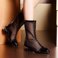 Moolecole 2014 spring punk sandals flat heel gauze rivets high women's shoes