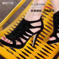 Comfortable moolecole genuine leather ultra high thin heels sandals platform rhinestone gladiator style women's shoes