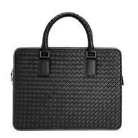 2014 New Fashion Black Color Brand Genuine Leather Woven Bags For Men Laptop 14 Inch Briefcase Man Business Travel Bag Handbag