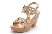 Moolecole summer wedges sandals rhinestone platform high heel cutout women's genuine leather shoes