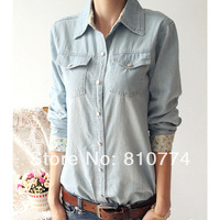 2014 spring fashion vintage street all-match denim long-sleeve slim shirt plus size shirt female clothes