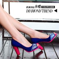 Moolecole spring princess single shoes open toe high-heeled shoes thick heel color block paillette women's low shoes