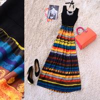 2014 spring and summer new arrival knitted multicolour stripe elegant full dress l58182n