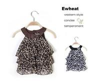 Spring New Retail girl dress leopard 2014 New Arrival Baby Girl Fashion Leopard Zebra Cake Kid's Dress girls leopard dresses