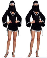 Arab black witch costume Halloween nuns temptation sex costumes dress 8772-2 , free shipping
