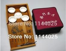 The portable square Travel tea set with a bamboo tea tray    kungfu tea set  jade porcelain