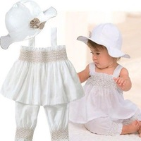 Baby Girls Kids Top+Pants+Hat Set 3 Pieces Outfit Costume Ruffled Clothes 0-3Y Free shipping & Drop shipping XL042