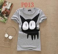 [Amy] women clothing 2014 autumn -summer Fashion Cute Cartoon Cat Short-sleeve O-neck Slim t shirt Women Top plus size t-shirts