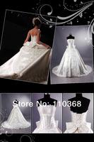 Ivory Embroidery Satin Strapless Scallopled Bridal Wedding Dresses,Wholesale Wedding Bridal Dresses-KT4200 free shipping