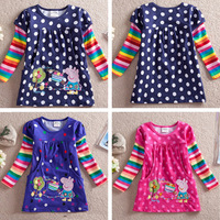 2014 New Rainbow Strip Long Sleeve Girls Clothes Peppa Pig Applique 100% Cotton Cheap Tunic Top Blouse With Embroidery nz65