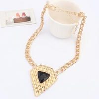 2014 New Arrival European Fashion Necklace Jewelry Hot Wholesale Gold Plated Black Triangular Necklace Gift Item FreeShip#104514
