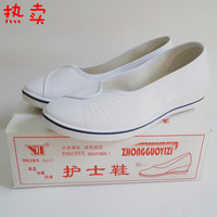 Plate nurse shoes black and white 2014 women's wedges shoes single shoes cotton-made female Free shipping