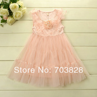 Free shipping 2014 Pearls decoration Baby girls sleeveless summer flower dress Children's summer wedding dress Kids floral dress
