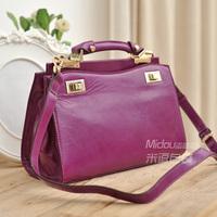 Fashion vintage wax cowhide women's handbag magazine formal elegant cross-body handbag white collar all-match bag