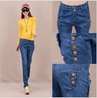 New women denim harem pants jeans trousers workout cargo pants buttons deco skinny hip hop high street high quality plus size