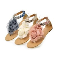 Bohemia 2014 New Sandals Women's Beaded Flower FLat Flip-flop flats Women's Shoes Free shipping