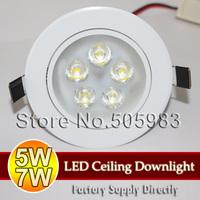 Fedex DHL Wholesale 20PCS 5W 7W High Power LED Downlight AC85V~265V 220V Warm Day White Light Ceiling Recessed Spot Down Lamp