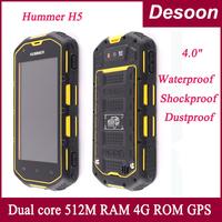 Original Hummer H5 Dustproof Waterproof Ip68 4'' IPS screen android 4.2 dual core mtk6572A dual cardwith 3G phone / Linda