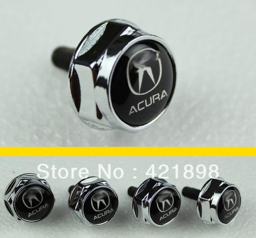 For Acura All model Chrome Metal License Plate Frame Bolt Screws new(China (Mainland))