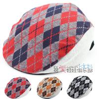 2014 Child cap male spring and autumn beret cap plaid detective children hats