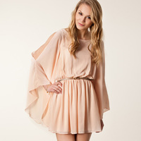 Smss fashion strapless long-sleeve chiffon batwing sleeve cape o-neck chiffon one-piece dress