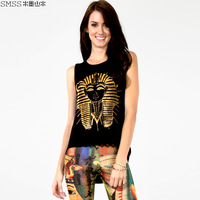 Ink landsides smss bronzier print o-neck low-high street style vest