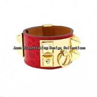 Fresh Red Croc Leather Rivets Cuff Bracelet,Soft Leather With Gold Plated Rivets,Women Favorite Genuine Leather Cuff Bracelet