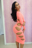 Free shipping New fashion 2014 bandage sexy women dresses evening dress clubwear sexy lady Pink dress S M L