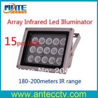 Free shipping Array LED Infrared Illuminator outdoor waterproof 15pcs leds Lamp 180meter ir range for CCTV Camera