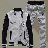 Top sale 2014 men sport suit thicken Plue size men track suit Jacket +Trousers 4 colors S-5XL free shipping