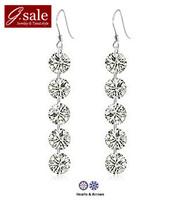 GS brand EZ-28 new 2014 sterling silver jewelry 925 silver earrings super shiny five zircons crystal for women dangle earring