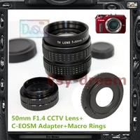 50mm F1.4 CCTV TV Lens + C Mount Adapter For Canon EOS-M EOSM EOSM2 MarkII Camera PA222