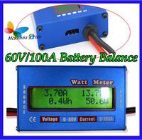 1Pcs/lot! 60V/100A Digital Battery Checker Watt Meter Power Analyzer Balance LCD Amps Amper Testing Balancer Servo Test Program