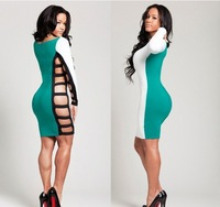 HOT! sexy dress party dress!Ladies Long Sleeve Hollow out Slim Bodycon Clubwear Dress