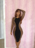 Free Shipping Leopard Spots Printing Stitching Bandage Dress Fashion Dress Sexy Evening Dress Casual Child