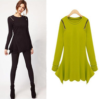 Spring 2014 new European and American big stars irregular hem shoulder zipper long -sleeved T-shirt