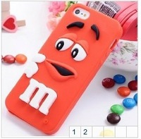 Cute Rainbow Beans M$M Silicon Case For iPhone4 4s, Lovely Chocolate For iPhone 4 4s