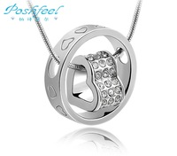 Luxury PF brand platinum plated 925 stamp silver with Austria crystal pendant necklaces expecting heart pendant
