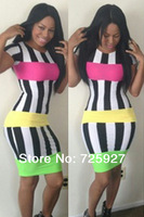 Bandage dress 2014 Women summer sexy Bodycon dresses short sleeve lady Stripe evening club dress