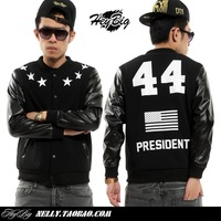 Jacket men PU Leather sleeve 2014 new American Flag President 44 stars sport baseball uniform sweatshirt outerwear black big