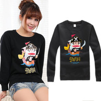 Free shipping new 2014 autumn winter men women sweatshirt fashion long sleeved pullover sweater pirate print hoodie crop top