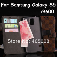New Arrival,Luxury Leather Wallet Flip Cover Case For Samsung Galaxy S5 SV I9600,For Samsung phone case, 20pcs/lot free shipping