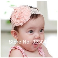 Korean children hair accessories flower lace ribbon lace big baby powder rose flower headband 10cm