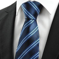 Free Shipping New Classic Striped Dard Light Blue Men' Tie Necktie Business Holiday Gift #0002