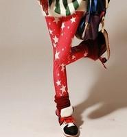 free shipping Spring/summer 2014 graffiti milk silk printed leggings mei red stars