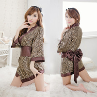 Free Shipping 1PCS 2014 HOT Selling Fashion Adult supplies plus size leopard print women's set kimono sleepwear dress ol
