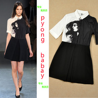 2014 new fashion dress 2014 spring and summer vitoria beckham OL outfit elegant slim one-piece dress
