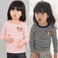 2014 spring stripe girls clothing child long-sleeve T-shirt  basic shirt free shippingD8