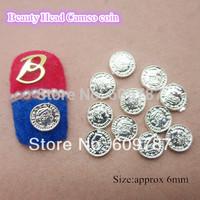 Free shipping 50pcs/lot Silver Beauty Head Cameo coin Decoration Metal Nail Art Decorations
